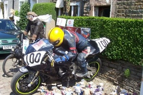 Vintage biker scarecrow