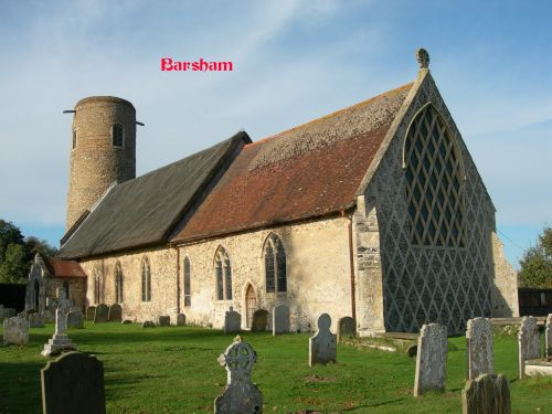 Another view of Barsham Church showing the window.