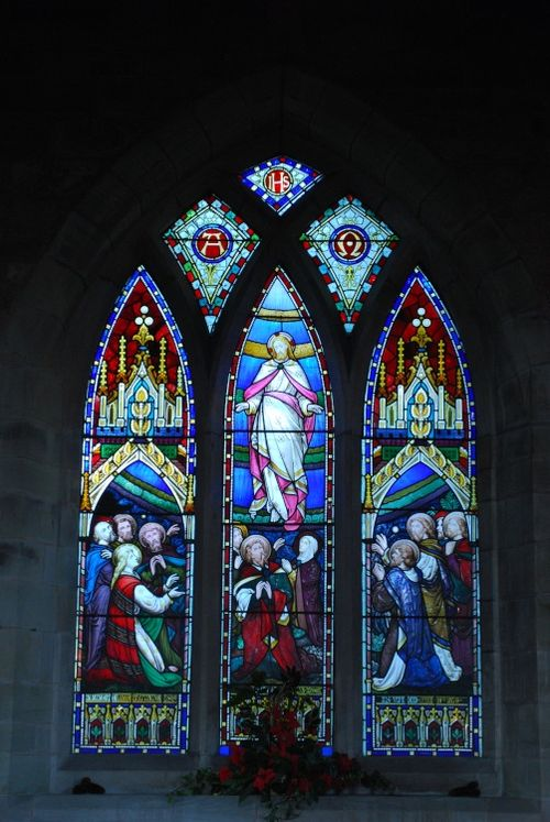 Window in Ribbesford Church at Christmas