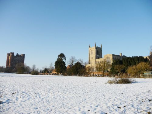 Tattershall Castle and the old Church in winter