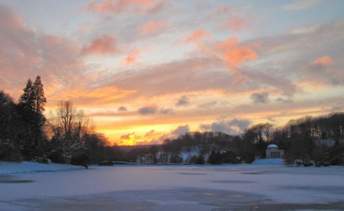 Stourhead frozen lake sunset