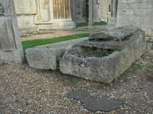 Stone coffins at Crowland Abbey
