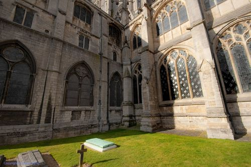 Ely Cathedral corner and graves