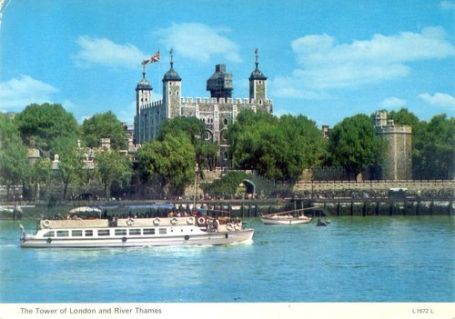 Tower of London and River Thames Postcard