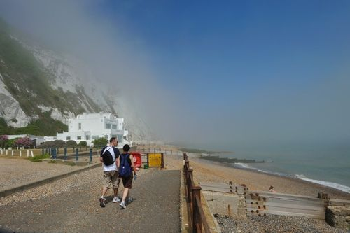 Promenade at St Margarets Cliff with Sea Mist, Kent - July 2010 by David Thomas
