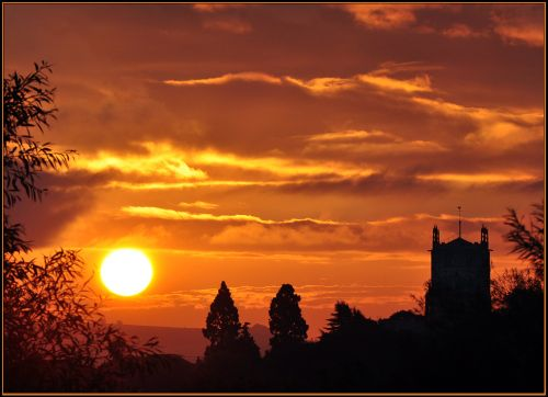 Sunrise over Tewkesbury.