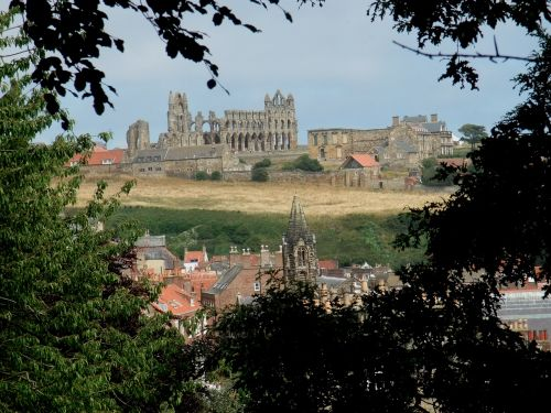 Whitby Abbey from west side of town.