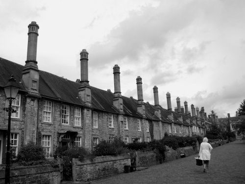 Choristers cottages in black and white.