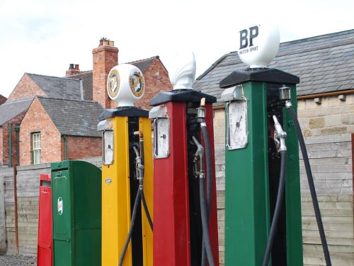 Petrol pumps at the Black Country Museum