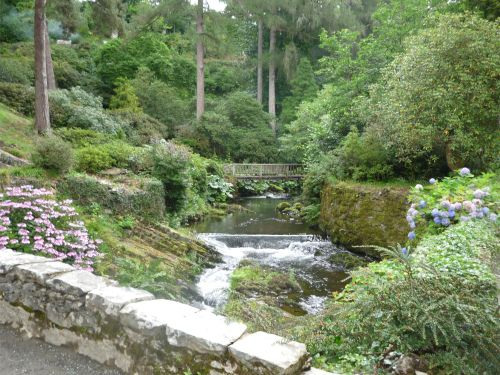 Bodnant Garden stream and bridge