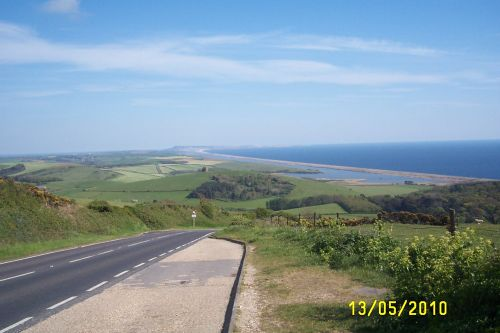 Chesil Beach from the hills