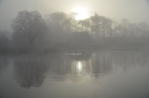 Early morning fog over the Cumbrian lakes