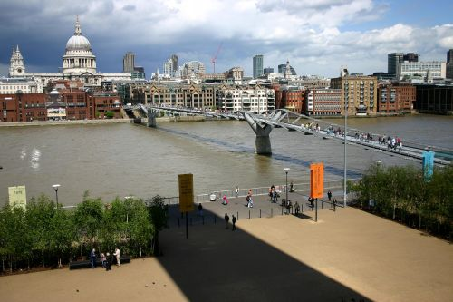 Millennium Bridge with St Paul's seen from the Tate Modern