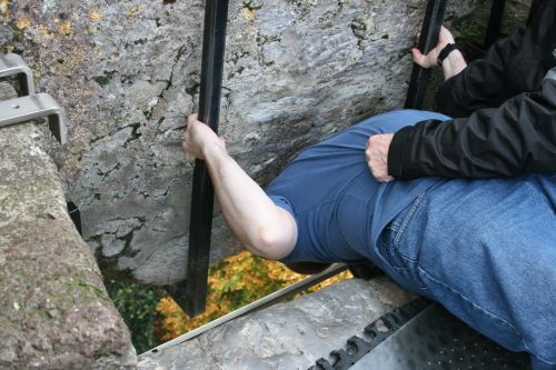 Hubby kissing the Blarney Stone