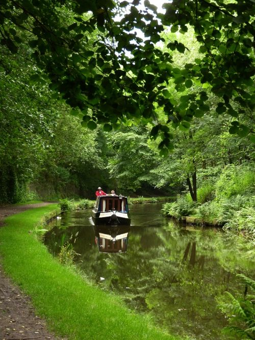 The Huddersfield Canal at Mossley, Greater Manchester