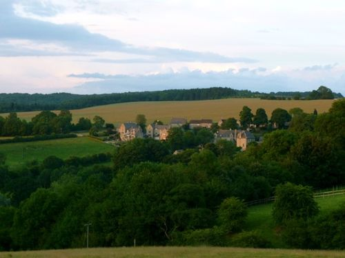 Twilight view of Snowshill from Sheepscombe.