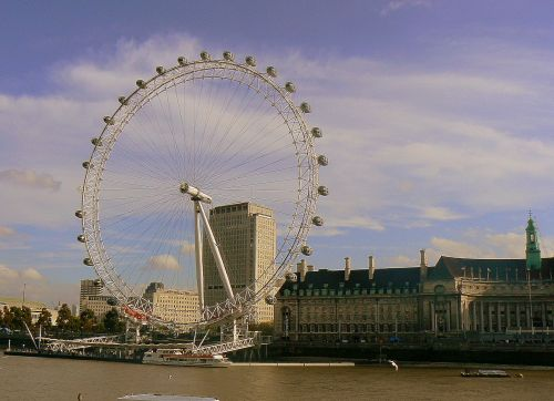View of the London Eye from across the Thames