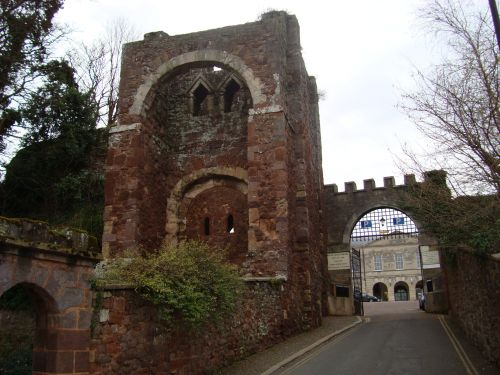 Rougemont Castle, the eleventh-century Norman gate tower.