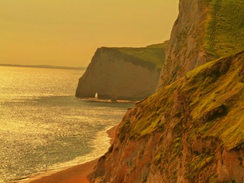 Sunset on the Dorset coastline