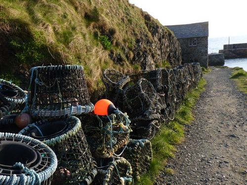 Lobster pots at Mullion Cove, Cornwall