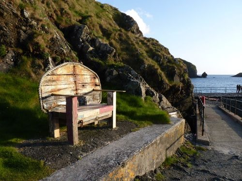 Novel bench made from parts of a boat, Mullion Cove, Cornwall