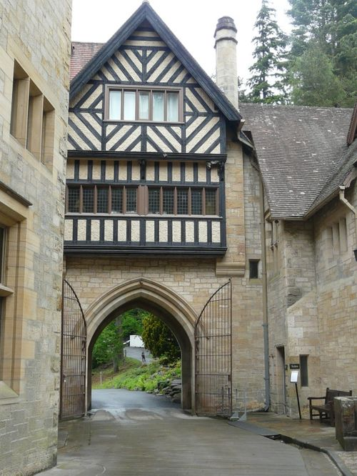 Cragside House, timbered walls entrance way