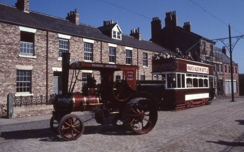 Steam tractor and tram at Beamish