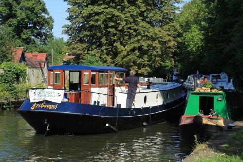 Boats queuing at Caversham Lock