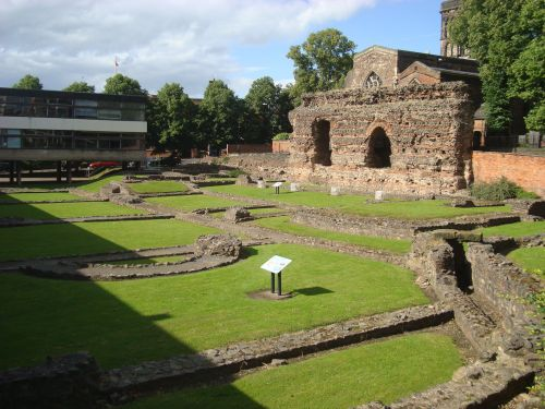 Roman baths ruins and the Jewry Wall