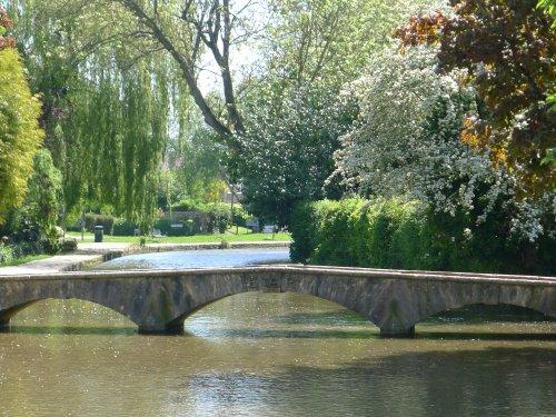 A low arched stone bridge
