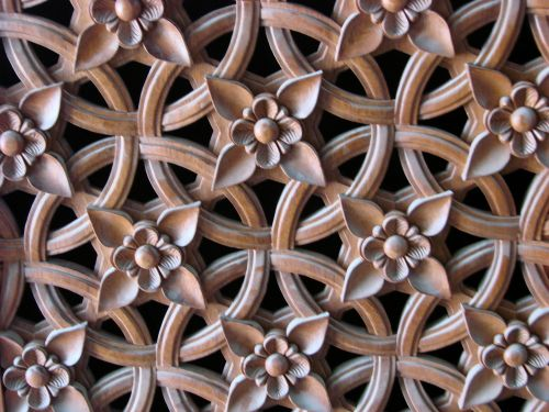 Hand carved panel at Islamic Centre, Oxford