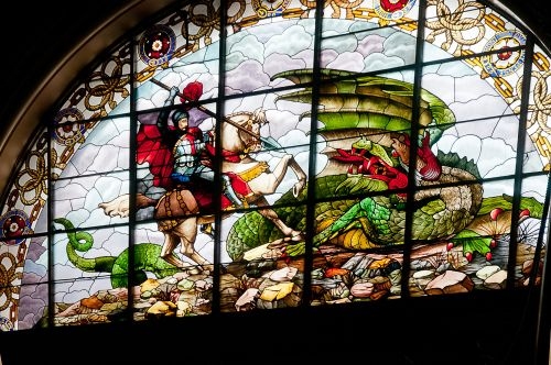 St George slaying the Dragon. St Georges Hall, Liverpool