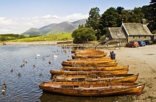 Derwentwater boats and Skiddaw