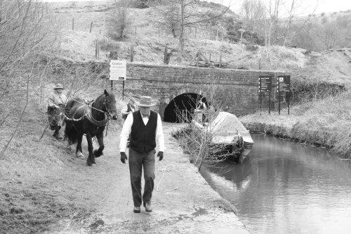 Horse drawn narrow boat, Mossley.