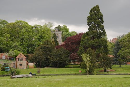 Caversham Court Gardens viewed from the Reading river-bank