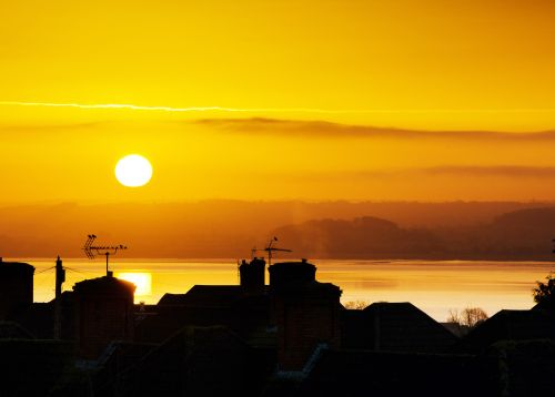 Sunrise across the rooftops, Chepstow.