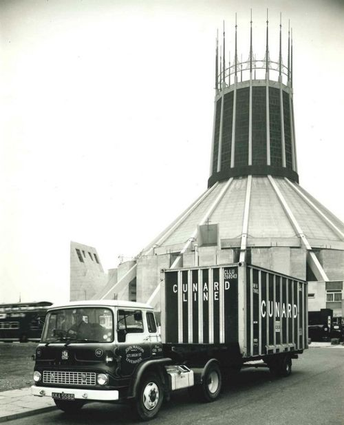John Mason Removal Van nearby Liverpool Metropolitan Cathedral (1950s)