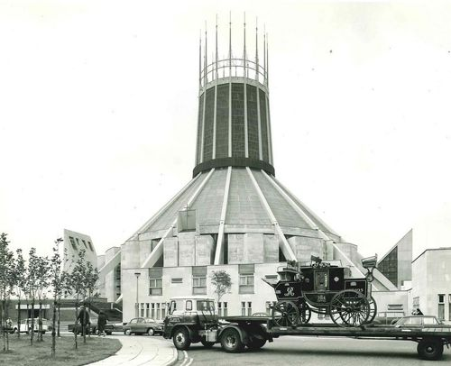 Stage Coach Delivery outside Liverpool Metropolitan Cathedral