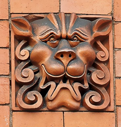 A Lion in Terracotta. Woolton Village. Taken 20th April 2014.