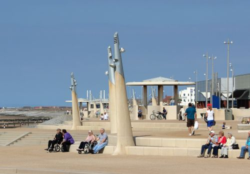 New promenade on seafront at Cleveleys, Lancashire.