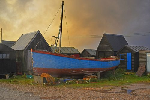 Southwold fishing harbour at dusk.