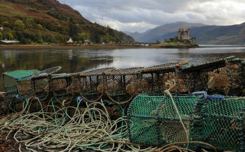 Lobster pots at the Eilean Donan Castle - Scottish Highlands