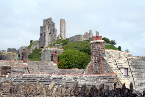 Corfe Castle, above the village of the same name
