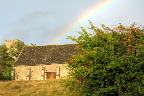 Rainbow over Tithe Barn at Upper Heyford, Oxfordshire