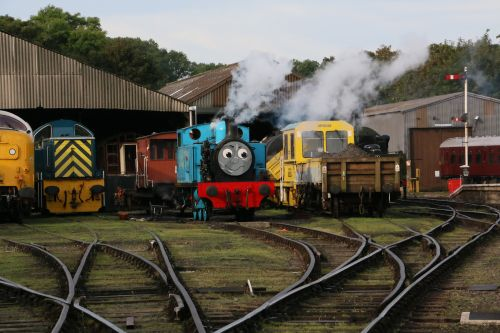 Thomas gets ready for a return trip from Wansford to Yarwell