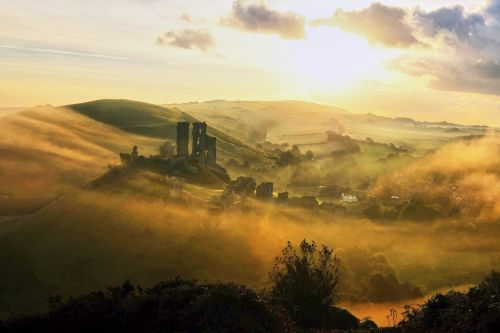 Corfe Castle in the Swirling Mists.