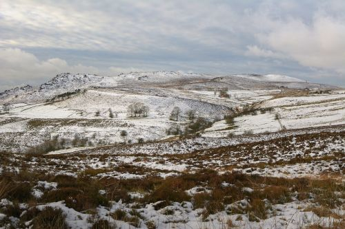 Light Snow on The Roaches near Upper Hulme, Staffordshire