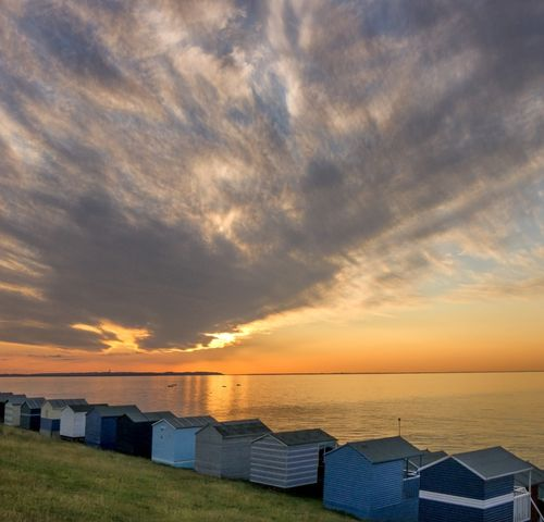 Whitstable Beach Huts at Sunset