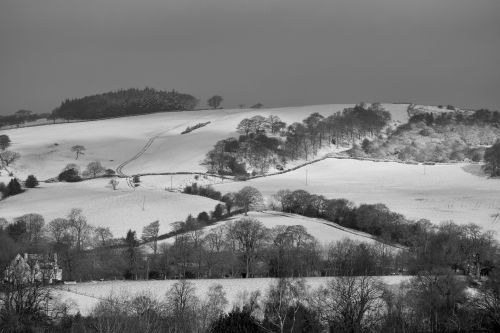 Snow on Gun Hill from Leek, Staffordshire