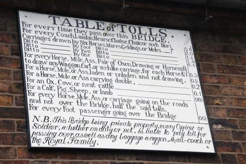 Toll charges for the Iron Bridge